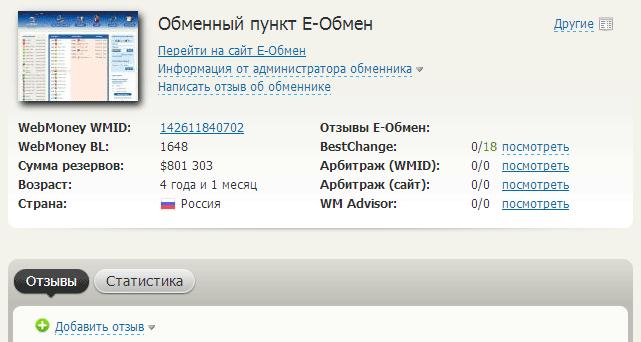 Рис. 9. Профиль обменника Е-обмен в системе BestChange